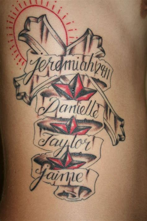 multiple name tattoo designs cross designs with names tattoos with and