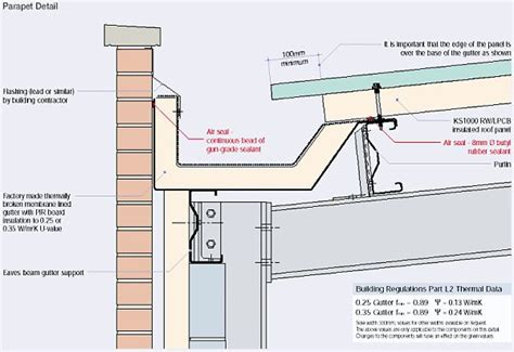 gutter section detail parapet gutter to brick detail t6 pinterest brick