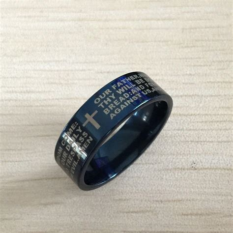 Black Titanium Christian Lord S Prayer Bible Cross Ring blue bible ring 8mm 316 titanium steel cross letter prayer bible wedding band the