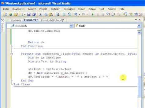 Tutorial Vb Net Dataset | tutorial vb net suchen in datasets und datatables youtube
