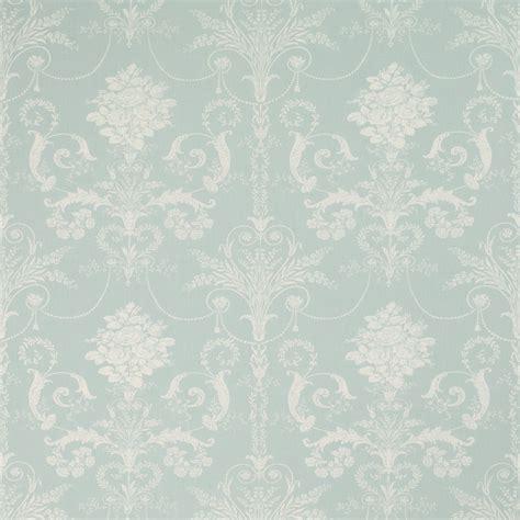 Josette Duck Egg Blue Floral Linen Mix Curtain Fabric At