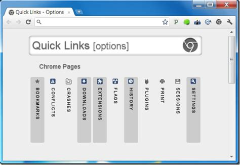 chrome quick links quick links one button access to chrome pages your