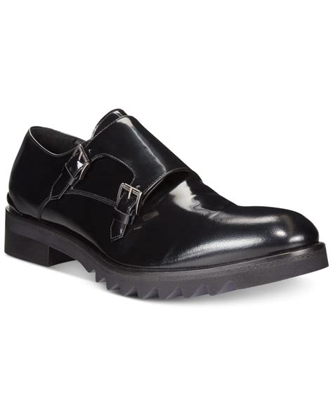 lug sole loafers lyst galliano plain toe lug sole loafers in black