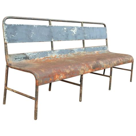 industrial metal bench industrial painted steel navy ship bench at 1stdibs