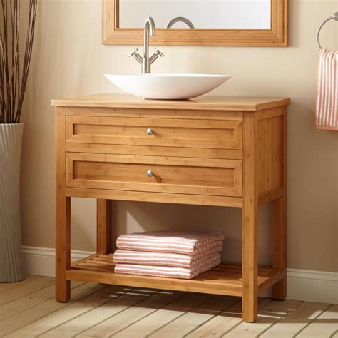 narrow bathroom sinks and vanities 36 quot narrow depth thayer bamboo vessel sink console vanity