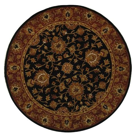 Safavieh Heritage Black Red 6 Ft X 6 Ft Round Area Rug 6 Foot Area Rugs