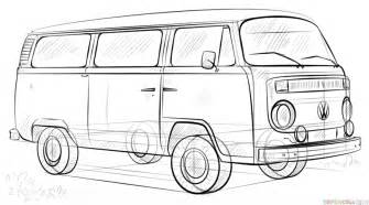 vintage line art tutorial how to draw a vw bus super coloring