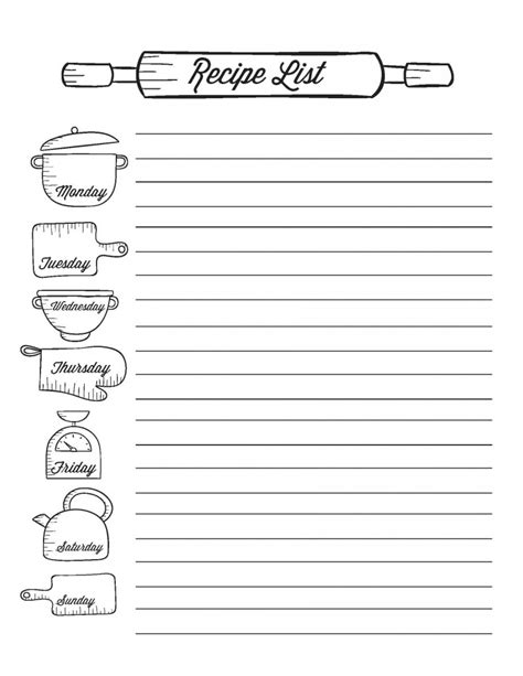 recipe list template from scratch meal planning printables from scratch magazine