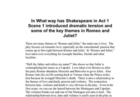 themes of romeo and juliet act 1 scene 4 in what way has shakespeare in act 1 scene 1 introduced