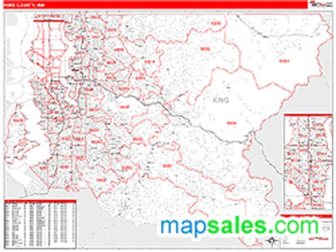 zip code map king county king county wa zip code wall map red line style by marketmaps