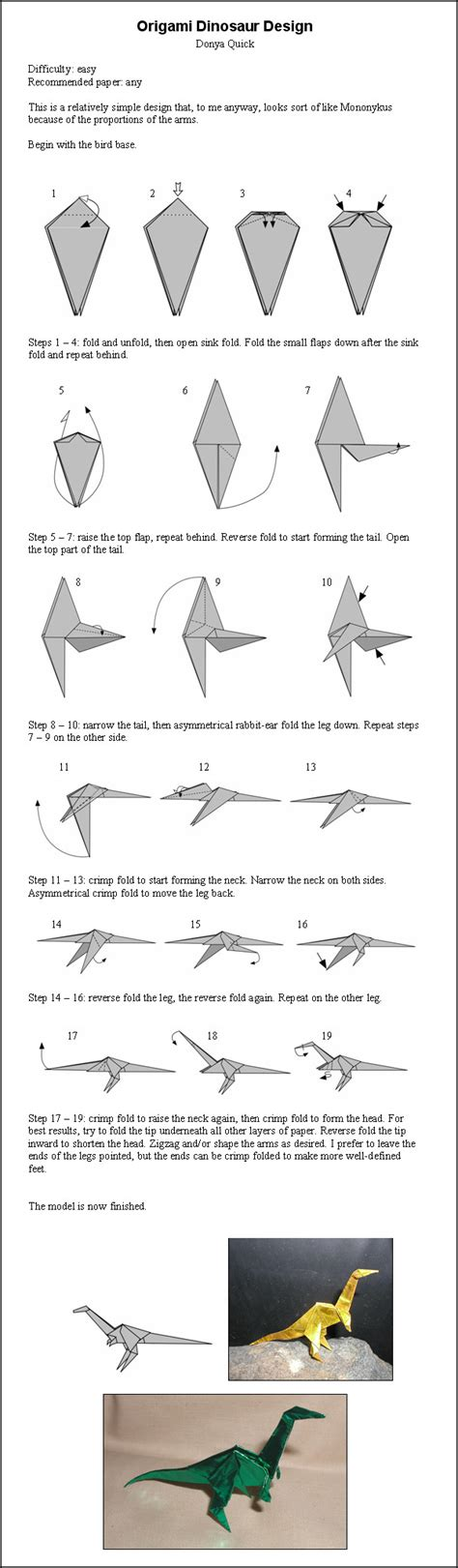 How To Make Origami Dinosaur - origami dinosaur by donyaquick on deviantart