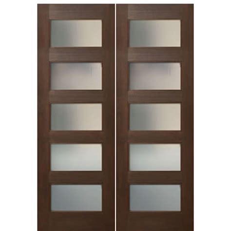 5 Panel Interior Door With Glass Escon Doors Mv8005ae 2 Mahogany Shaker Style 5 Panel Acid Etch Glass Interior Doors At