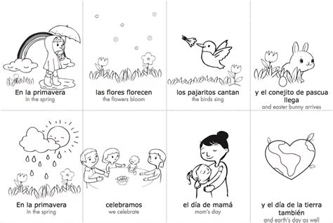 spring coloring pages in spanish spring spanish vocabulary cards monarca language blog