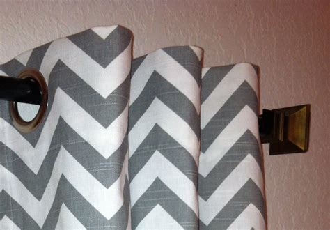 Gray And White Chevron Curtains Pair Of Grommet Top Curtains In Ash Grey And White By Sewpanache