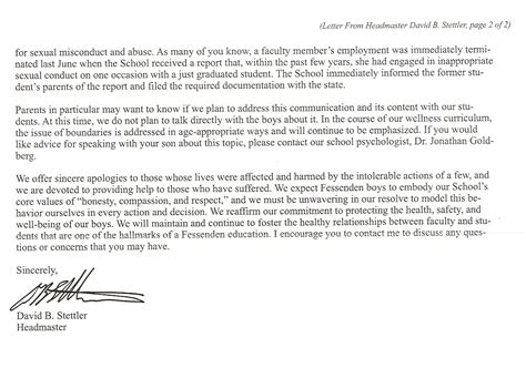 Boarding School Admission Letter Fessenden School Abuse It Gets Worse Ipso Facto