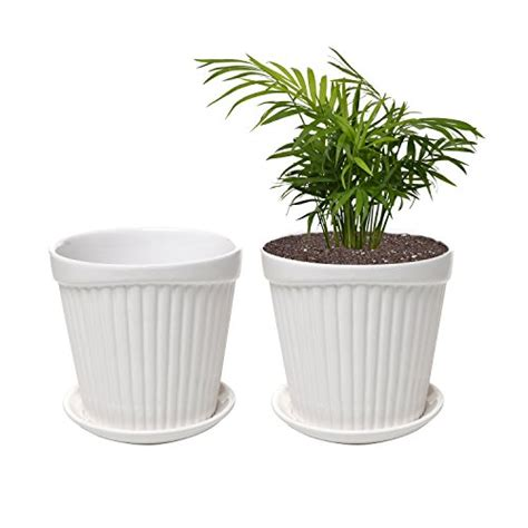 small white planter set of 2 small white decorative ribbed ceramic plant flower planter pot w attached saucer