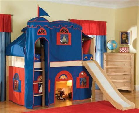 castle loft bed with slide play area underneath
