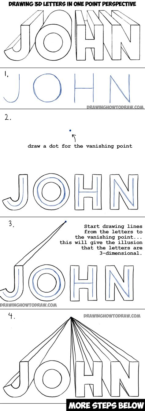 Letter Drawing how to draw 3d letters in one point perspective