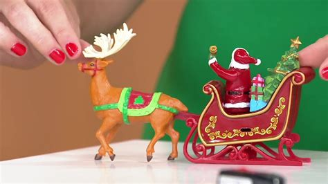 moving santa tree topper mr animated lit revolving santa sleigh tree topper on qvc