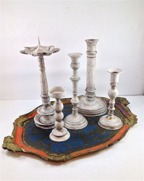 shabby chic candle sticks chalk painted set of five brass candlesticks instant