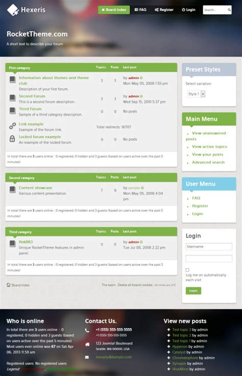 phpbb forum templates hexeris phpbb3 template from rockettheme