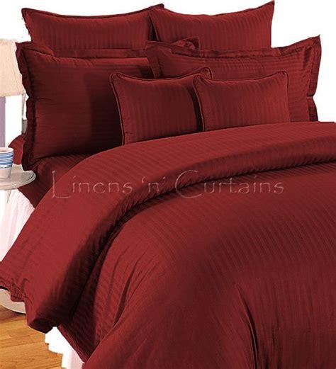 Maroon Duvet Cover Burgundy Stripe Duvet Cover And Fitted Sheet Set 4 Pc