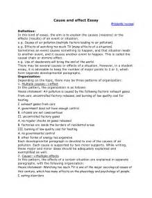 Cause Effect Essay Format by Cause And Effect Essay
