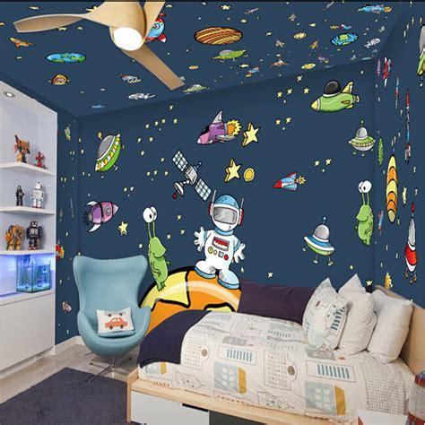 cartoon wall painting in bedroom custom 3d mural children s room wall painting cartoon star universe galaxy background