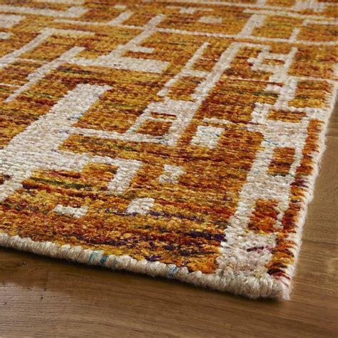 celosia rug celosia orange knotted rug crate and barrel