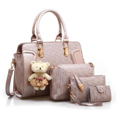 Tas Selempang Import Wanita Ji8519 Gold jual tas tangan wanita import new satu set 4 in 1 warna gold emas harga murah surabaya oleh pt
