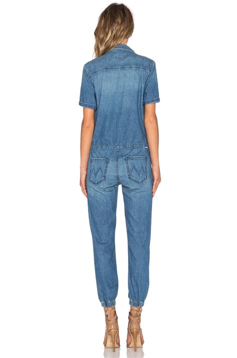 swing jumpsuit sleeved denim jumpsuit in blue lyst