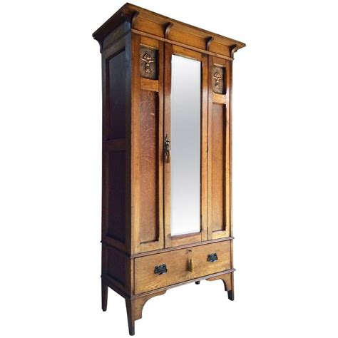 Single Armoire Wardrobe by Antique Single Wardrobe Arts And Crafts Copper Edwardian Armoire Mirror At 1stdibs
