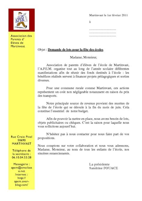 Lettre Demande De Lots Kermesse Ecole Application Letter Sle Modele De Lettre Demande De Lots Pour Kermesse