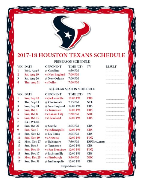 Printable 2018 Nfl Schedule Pdf