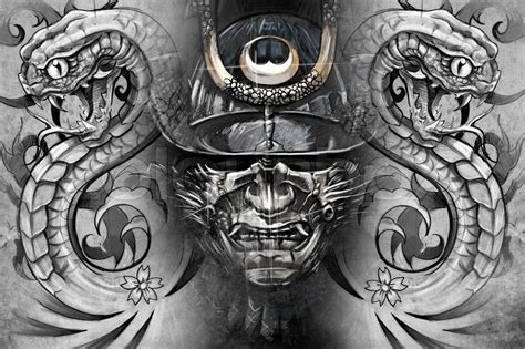 grey japanese wallpaper japanese mask and snakes tattoo design over grey