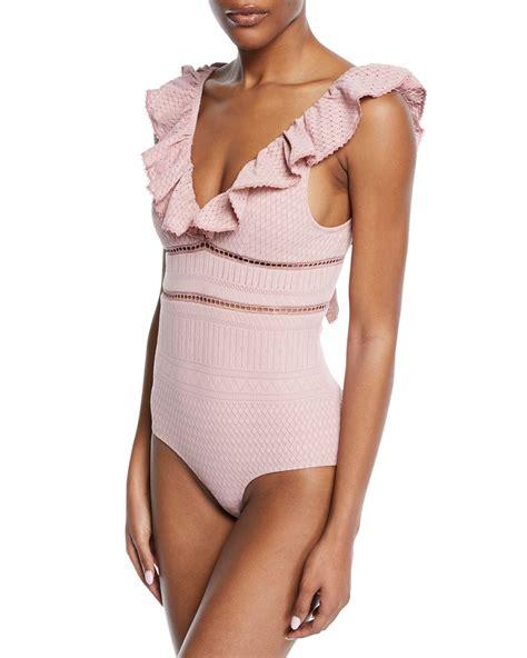 Lace V Neck Swimsuit jonathan simkhai lace ruffle v neck one swimsuit