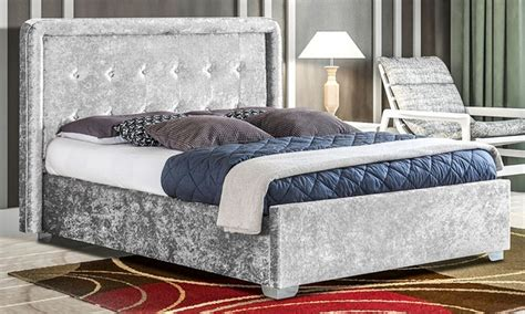Bed Frame And Mattress Deals Uk Crushed Velvet Contero Bed Frame With Optional Mattress Buy 163 219 With Free Delivery