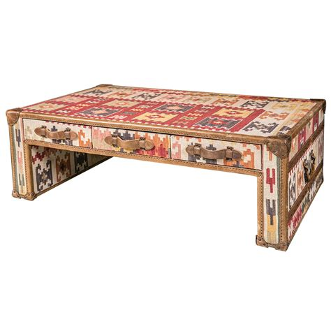 Kilim Coffee Table Kilim And Leather Trunk Style Coffee Table At 1stdibs