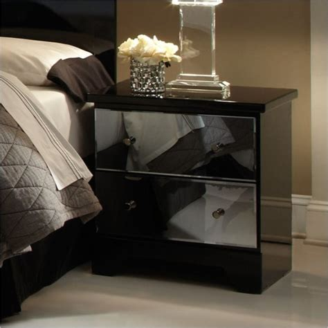 Black Mirrored Furniture by Standard Furniture Parisian 2 Drawer Nightstand In Black