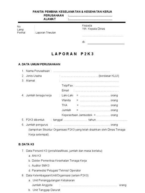 format laporan tahunan organisasi form laporan p2k3 final 2013