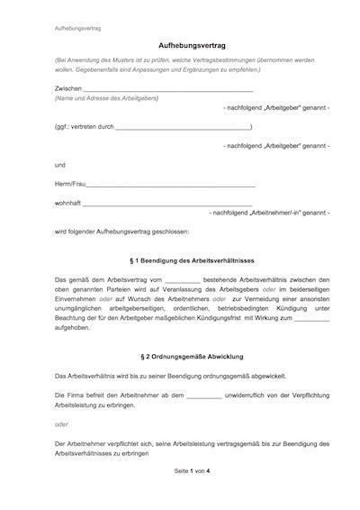 Schreiben Aufhebungsvertrag Muster Arbeitsvertrag Muster Arbeitsvertr 228 Ge Mit Rechtshinweisen