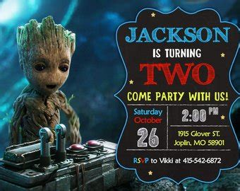 Groot Birthday Etsy Guardians Of The Galaxy Invitation Template