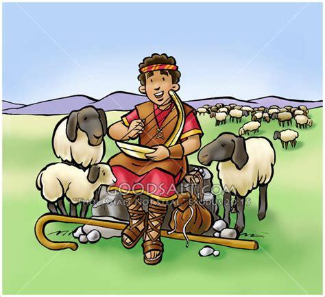 shepherd boy david sings to sheep
