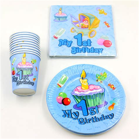 Giveaways For First Birthday Boy - 60pcslot baby shower happy decoration boy girl paper plates 1st birthday party cups