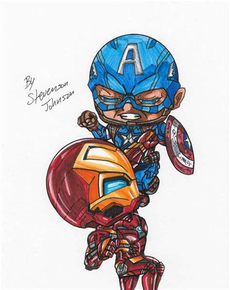 Figure Captain America Ironman Chibi quot ironman vs captain america quot stevensonjohns drawings illustration mythology