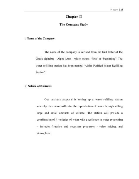 Business Letter For Water Refilling Station Feasibility Study Water Refilling Station