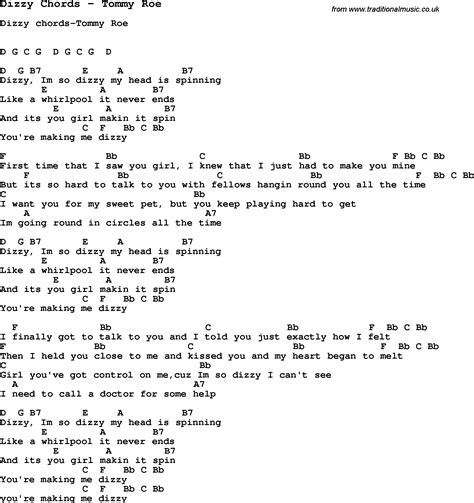 song lyrics and chords song dizzy chords by roe song lyric for vocal