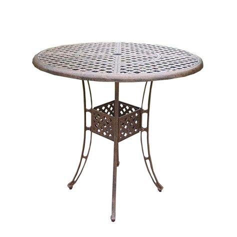 Aluminium Bar Table Oakland Living Elite Cast Aluminum Patio Bar Height Dining Table Hd1101 Ab The Home Depot