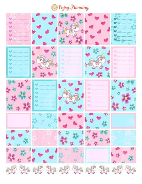 printables for erin condren life planner unicorns planner stickers printable unicorns stickers