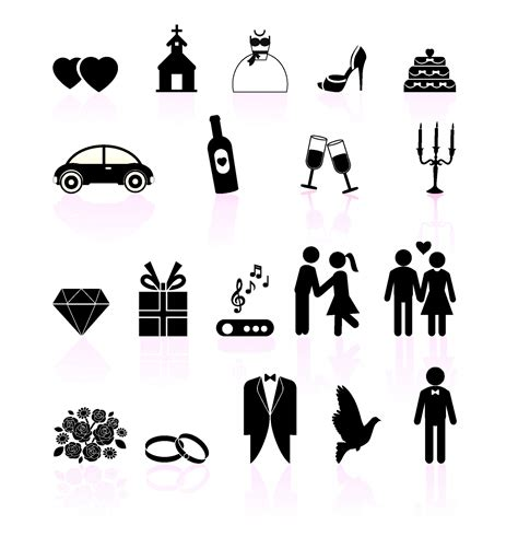 eps format wedding clip art wedding day black and white set icons free vector 4vector